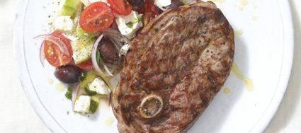 Griddled Lamb Steaks with Greek Salad